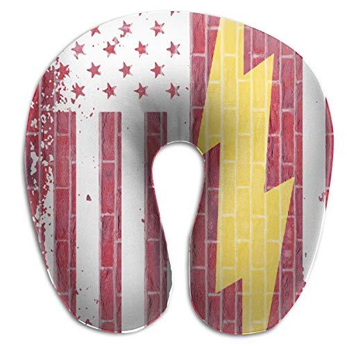 (WaiTiansk American Flag Lightning Bolt Electrician U-Shape Pillow - Memory Foam Super Soft Neck Support Travel Pillow - Machine Washable)