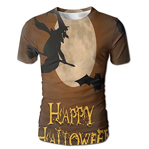 HenSLK Men's Summer Halloween Witch Casual Novelty Crew Neck Short Sleeve Shirt Gift ()