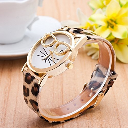New Fashion Glasses Cat Watch Leather Strap Geneva Watch ...