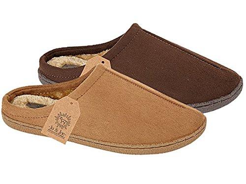 Para hombre Cliff ante sintético de forro polar Slip en Mulas Zapatillas zapatos tamaño 7-12 coñac