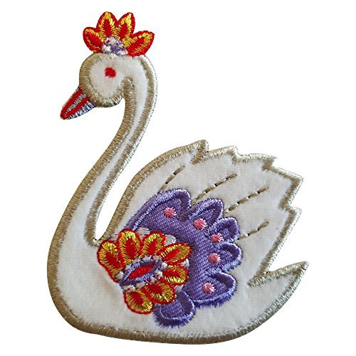 2 iron-on appliques set - Swan 8X7Cm and Hedgehog 9X7Cm embroidered application set by TrickyBoo Design Zurich Switzerland