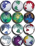 "Unique & Custom {7/8'' Inch} Set Of 50 Big ""Round"" Clear & Opaque Marbles Made of Glass for Filling Vases, Games & Decor w/ Educational Bold Vibrant Earth Globe Design [Assorted Colors]"