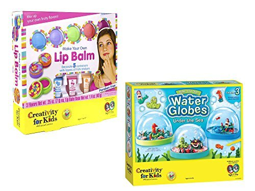 Creativity for Kids Make Your Own Lip Balm Kit and Creativity for Kids Make Your Own Water Globes - Under the Sea Snow Globes bundled by Maven Gifts (Globe Water Craft)