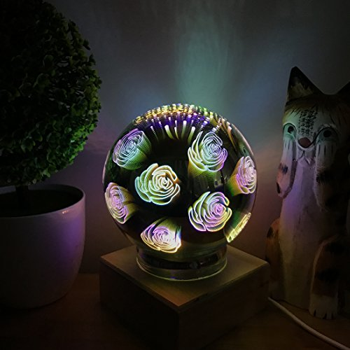 3D Fireworks Night Light, Tmore Glass Lamp Magical Crystal Ball USB Power Starry Decorative Lamp Colorful Sphere Table Light (Butterfly) by Tmore (Image #5)