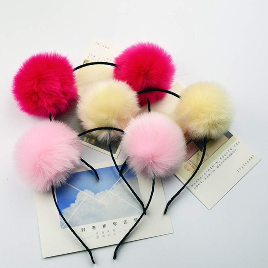 Apparel Accessories Adult Child Cloth Wrapped Stretchy Headband Cute Panda Ears Hair Hoop Dual Big Bright Colorful Fluffy Pompom Ball Photo Props He Buy One Get One Free