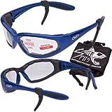 Hercules 2.00 BIFOCAL Safety Glasses - Foam Padded - Rubber Ear Locks - BLUE Frame - CLEAR Lens