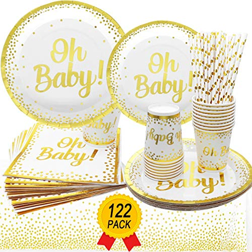 Baby Shower Plates Cups Napkins (Oh Baby Shower Tableware Baby Shower Tablecloth Plates Cups Napkins Neutral for Boy or Girl Disposable Tableware for 24 Guests Baby Shower)