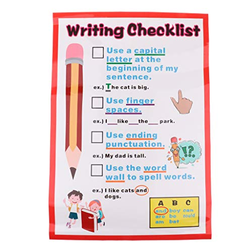 - Flameer Kids Learning Wall Charts Words & Pictures Poster Preschool Educational Art - Writing Checklist, 60x40cm