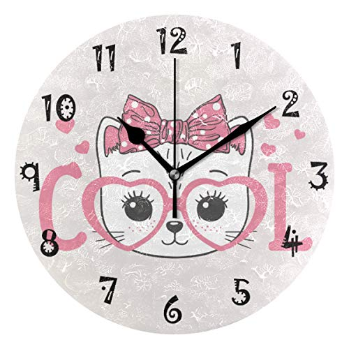 (Round Wall Clock Non Ticking Cute Arabic Numeral Design Pink Cool cat Battery Operated Vintage Design Oil Painting Home Office School Decor Dual Use Art Clock 9.45 Inch)