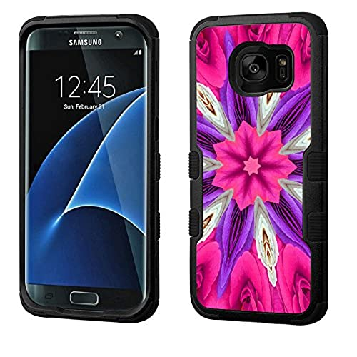 Fit Galaxy S7 EDGE, One Tough Shield  3-Layer Shock Absorbent Hybrid phone Case (Black / Black) for Samsung Galaxy S7 EDGE - (Kaleidoscope Rose) Sales