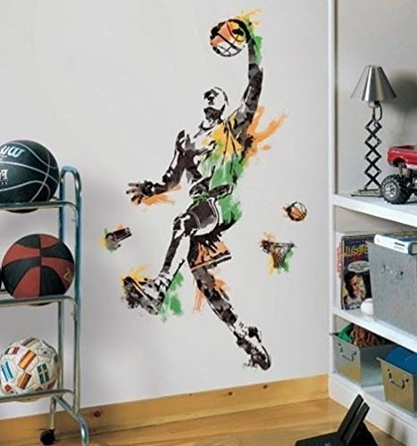 Lunarland BASKETBALL PLAYER GiAnT Wall Decals Boy Sport Ball Room Decor Stickers Mural NEW ()