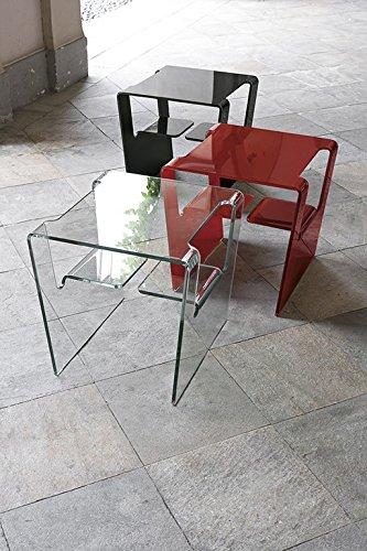 Tavolino Salotto Rosso.Mocada Proteo Tavolino Da Salotto In Vetro Curvato Rosso