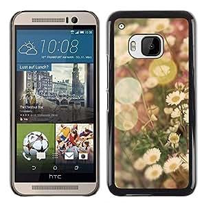 Planetar® ( Summer Sun Vignette Field Daisy Flower ) HTC One M9 Fundas Cover Cubre Hard Case Cover
