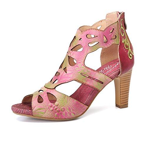 gracosy Heel Sandals, Women Leather Sandals Summer Dress Sandal Handmade Comfort Heel Wedding Party Shoes Pink 7 B(M) (Pink Dress Sandals)