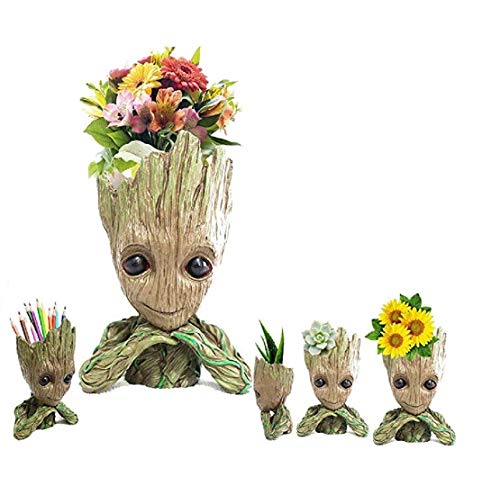 (Bonsai Tree Pot Baby Groot (Thinking Groot) Succulent pot - Cactus pot- Pen Holder- Make up Brush holder -Great Quality and Extremely Detailed -Durable Resin- Won't Loose Color Due To Rain, Snow, Sun)