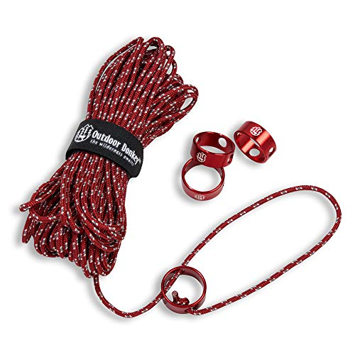 Utility Kit Bag - Outdoor Donkey VersaCord Reflective Utility Guyline Cord Kit with FlyRing Tensioners and Cord Strap for Hiking, Camping & Backpacking (Red, 50 feet, 200 lbs tensile Strength)