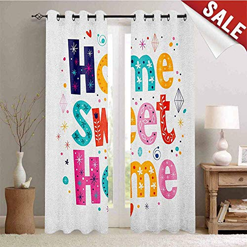 Hengshu Home Sweet Home Waterproof Window Curtain Typography Lettering in Lively Colors and Floral Elements Diamonds Hearts Decorative Curtains for Living Room W84 x L108 Inch Multicolor