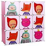 Songmics Armoire Penderie Cubes/étagère de rangement modulables plastiques imprimé cadre en métal pour enfant LPC33P