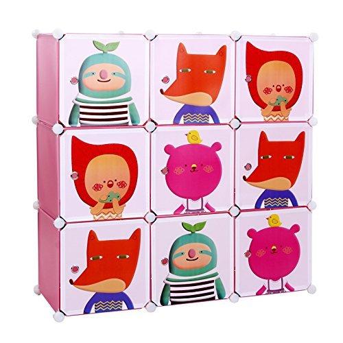 Songmics® Kinderregal Spielzeugkiste Garderobenschrank Wäscheschrank Kleiderschrank Kapazität Regalsystem 450L Pink LPC33P