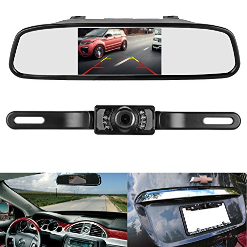 iStrong Backup Camera and Mirror Monitor Kit Reverse Camera Waterproof Universal 7 LED Night Vision only need Single Power Rear view or Fulltime View Optional for Car Vehicle Van Caravan Wired Wireless Car