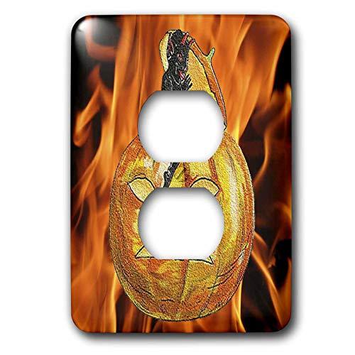 3dRose Sandy Mertens Vintage Halloween Designs - Devil on Jack o Lantern with Modern Flames Background - Light Switch Covers - 2 plug outlet cover (lsp_53710_6)