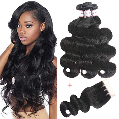 Brazilian Virgin Hair Body Wave 3 Bundles With Closure 100% Unprocessed Human Hair Weave 350g/lot Natural Black Hair (12 14 16+10 Three ()