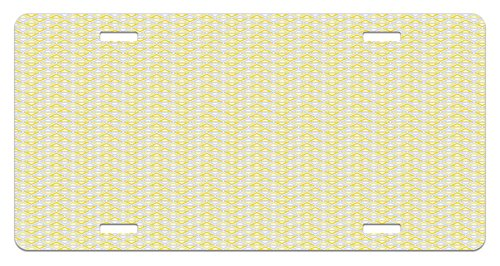 Lunarable Grey and Yellow License Plate, Geometric Triangles Composition with Tribal Collection of Bicolor Shapes, High Gloss Aluminum Novelty Plate, 5.88 L X 11.88 W Inches, Yellow Grey