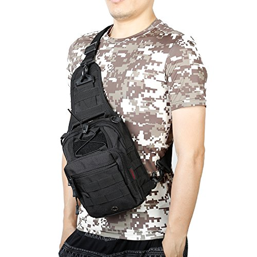 Sling Bag Outdoor Tactical Chest Pack Shoulder Backpack Military Sport Bag for Men Women (Black, M-medium)