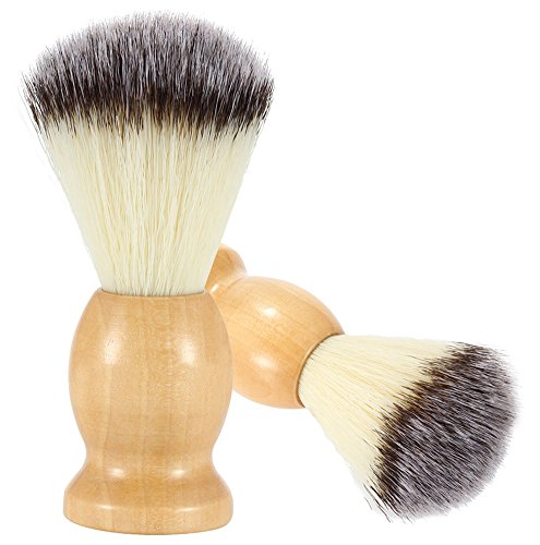 Bassion 2 Pack Hand Crafted 100% Pure Badger Shaving Brush with Hard Wood Handle, Men