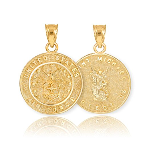 (Fine 14k Yellow Gold St Michael Medal Protection Charm US Air Force Reversible Necklace Pendant)