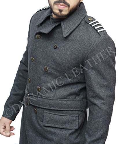 CAPTAIN JACK HARNESS DOUBLE BREASTED WOOLEN LONG TRENCH COAT,PEA COAT-BNWT (Peacoat Double Leather Breasted)
