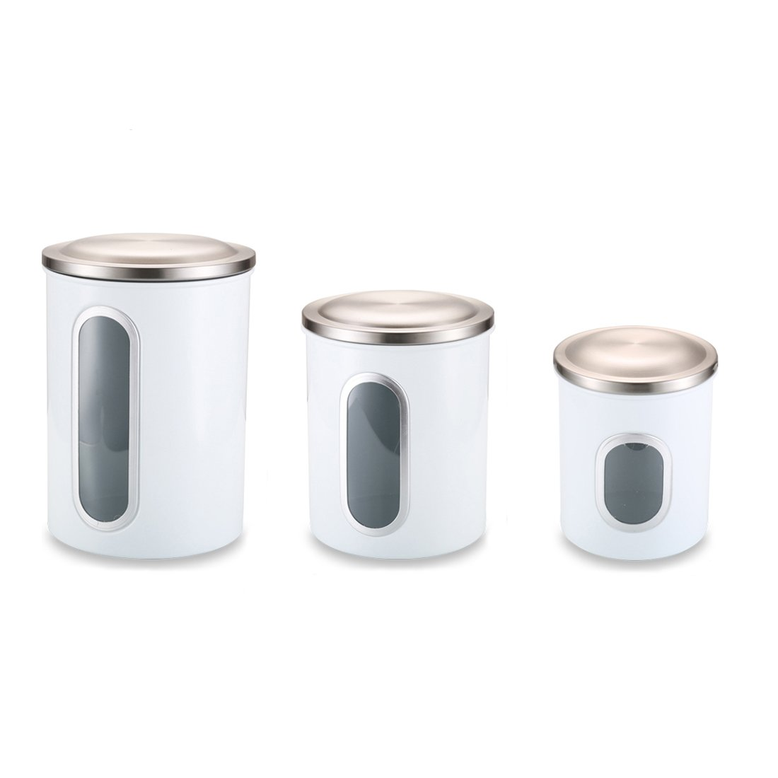 FC Airtight Window Kitchen Canister, Stainless Steel Canisters Sets with Fingerprint Resistance Lid, Set of 3 (Black) FORTUNE CANDY