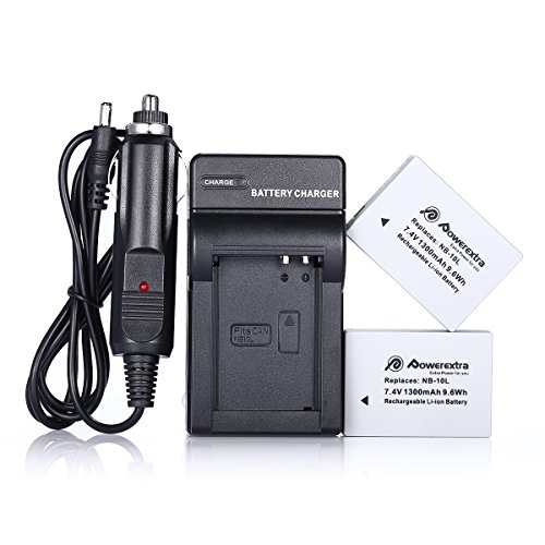 Powerextra 2 Pack NB-10L 1300mAh 7.4V Battery and Charger for Canon NB-10L, CB-2LC and Canon PowerShot G1 X, G15, G16, SX40 HS, SX50 HS, SX60 HS(Free Car Charger Available) (Battery For Canon Sx40 Hs compare prices)