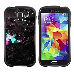Hybrid Anti-Shock Bumper Case for Samsung Galaxy S5 / Pop Art Neon Landsace
