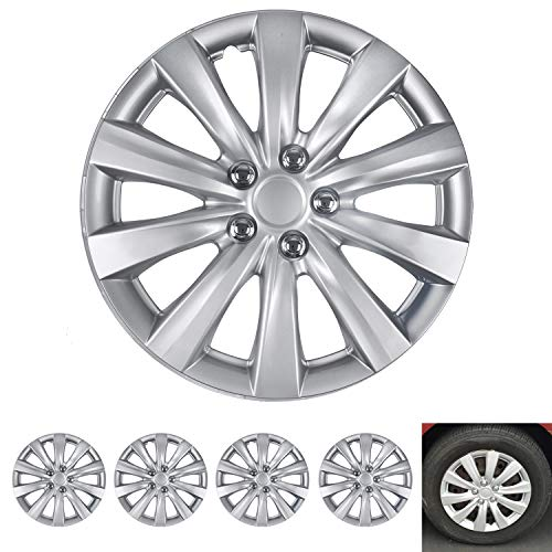 BDK Wheel Guards - (4 Pack) Hubcaps for Car Accessories Wheel Covers Snap Clip-On Auto Tire Rim Replacement for 16 inch Wheels 16