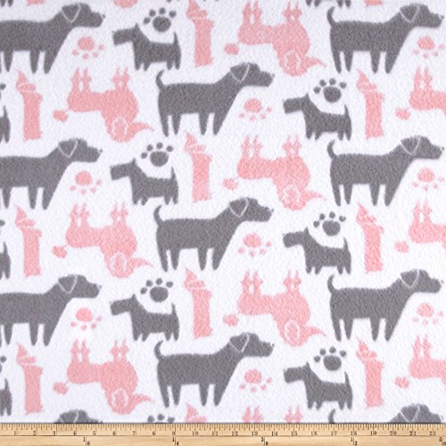 CAMELOT Fabrics Fleece Dog Silhouettes Pink Yard
