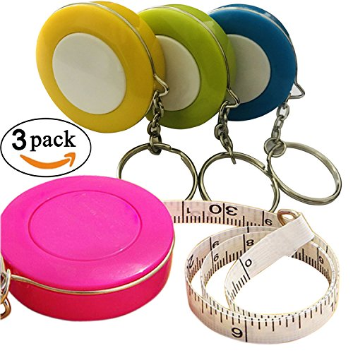 GoProver 3 pack Retractable Tape Measure Double-Scale 60-Inch/150cm Double Sided Pocket Soft Cloth Measuring Tape Weight Loss Body Measurement Sewing Tailor Craft Vinyl Ruler With Keychain