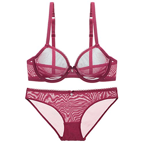 Bluewhalebaby Sexy Lingerie Women See-Through Transparent Breathable Lace Push Up Everyday Bra With Matching Panty Set