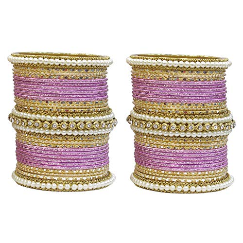 MUCH-MORE Unique 54 Pieces of Multi Color Bangles Set with Pearls Kade Partywear Jewelry for Womens & Girls (Pink, 2.6)