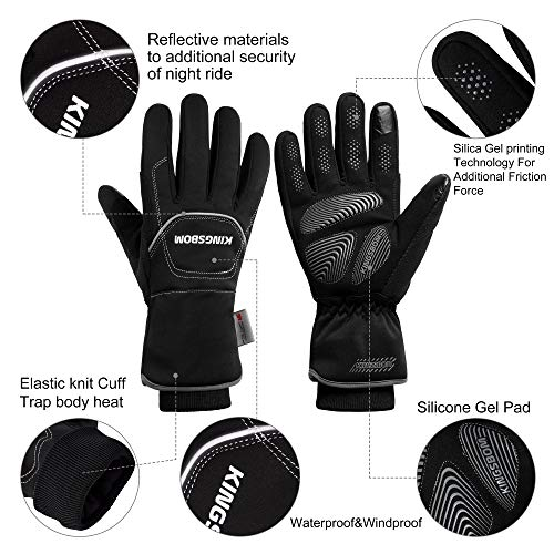 KINGSBOM -40F° Waterproof & Windproof Thermal Gloves – 3M Thinsulate Winter Touch Screen Warm Gloves – for Cycling…