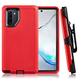 Galaxy Note 10 Case CaseStro Rugged Series for Samsung Galaxy Note 10 Case Full Cover Heavy Duty Defender Armor 360 Protection [Shock Proof] with Belt Clip Holster and Kickstand (Red Black)