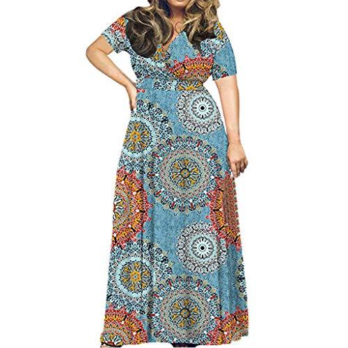 FAPIZI Plus Size Short Sleeves Wrap V Neck Belted Empire Waist Asymmetrical High Low Bohemian Party Maxi Dress Blue