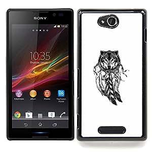 Stuss Case / Funda Carcasa protectora - Lobo Indian Dream Catcher nativa blanca - Sony Xperia C C2305 S39h