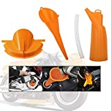 MoKo Car Oil Funnel, 3 Packs Motorcycle Refueling Funnel Long Mouth Oil Gasoline Water Filter Tool Crankcase Primary Case Oil Fill Drip-Free Long Stem Plastic Set for Harley - Orange
