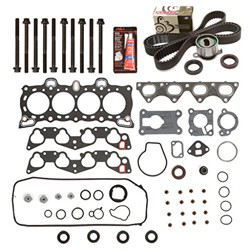 Evergreen HSHBTBK4026 Head Gasket Set Head Bolts Timing Belt Kit Fits 88-91 Honda Civic D15B1 D15B2 D15B6 D15B7 ()