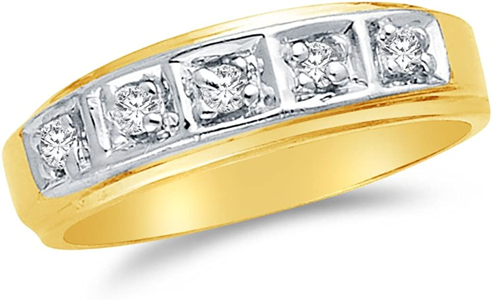 Mens Solid 14k Two 2 Tone White and Yellow Gold Wedding Band CZ Cubic Zirconia 0.1 ct.