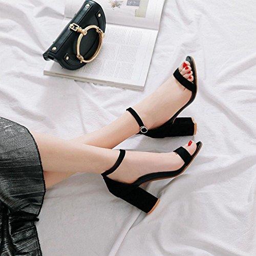 Femmes Orteil Pompe Noir Mariage Talons Bloc Sandales Haut Chunky Robe Evining Ouvert Cheville Sandales Talon Sangle rzqwZrx7F