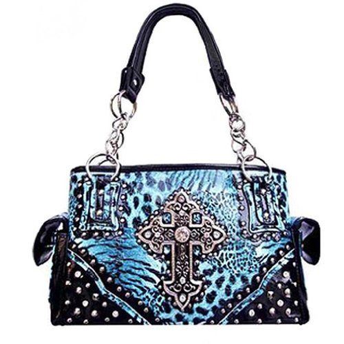 Zebra Print Satchel Handbag (Zebra Leopard Animal Print Rhinestone Cross Satchel Purse (Turquoise))
