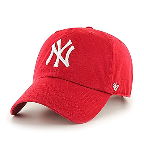 2d33026ff7a Image Unavailable. Image not available for. Color   47 MLB New York Yankees  Brand Red Basic Logo Clean Up Cap Adjustable Hat