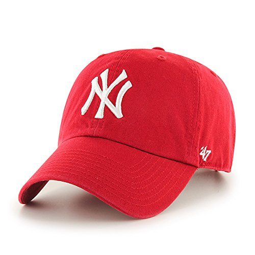 ('47 MLB New York Yankees Brand Red Basic Logo Clean Up Cap Adjustable Hat)